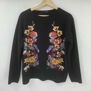 Zara Embroidered Top Long Sleeve Shirt Floral S